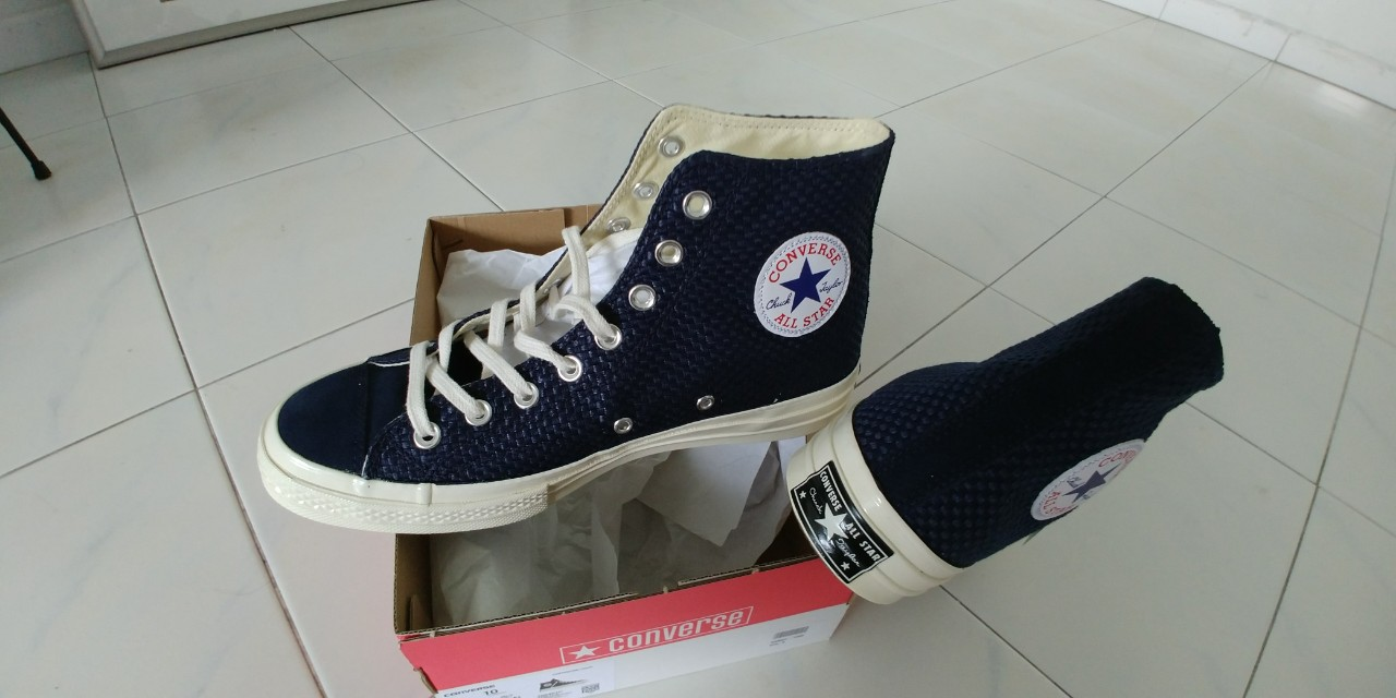 9ccbc40d6ff3 1970s Chuck Taylor All Star Suede-Trimmed Woven High-Top Sneakers ...