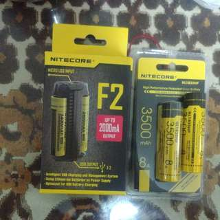Nitecore F2 battery charger and 2x 18650 Batteries