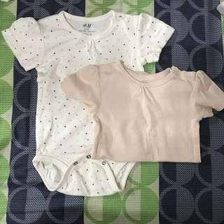 H&M Basic Organic Cotton Onesies - Pale Pink & Polka (9-12M)