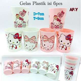 Gelas plastik hello kitty isi 6 pcs