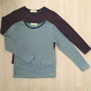 Stripey Long Sleeves Tshirt Set