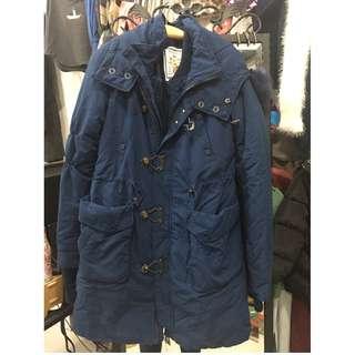 (現貨商品) 牛牛小舖**SLY內毛絨雙層大衣外套 藍色