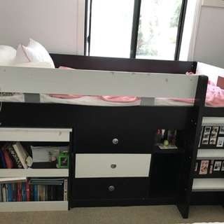 Single loft bed - includes desk, drawer and 6 storage compartments