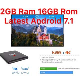 【Stock Clearance Sale While Stock Last】Latest Android 7.1 A95S TV Box 2GB Ram 16GB Rom S905W 4K H.265