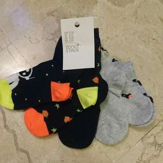 New in Tag H&M Boy Kid Socks Pack 5 Pairs Set Space Design EU Size 22-24 US 6-7.5