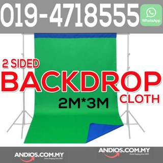 In-Stock✔2-sided 2in1 Blue Green Double Side Backdrop Cloth Photo Studio Curtain 2*3m