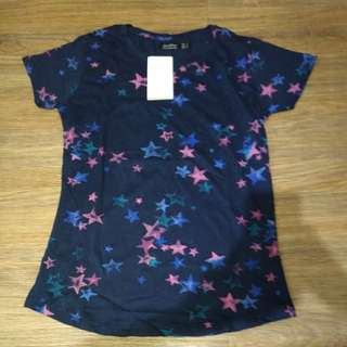 Bershka Star Printed Overrun Tee for Women