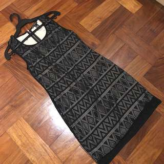 Forever 21 Tribal Design Black Bodycon Dress