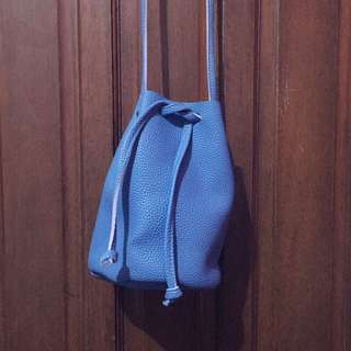 NEW! Blue Leather Bucket Bag