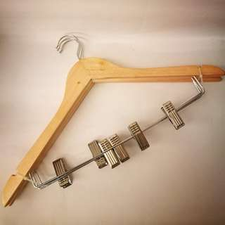 🆕 Solid Wood Pants / Skirt Hangers With Metal Clips