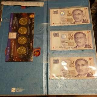 SG $2 Note + Greenwich Millennium medal