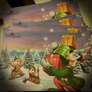 迪士尼 hk disneyland 2017 christmas goffy chip n dale postcard 明信片
