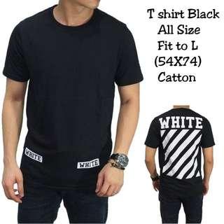 Kaos hitam sablon putih