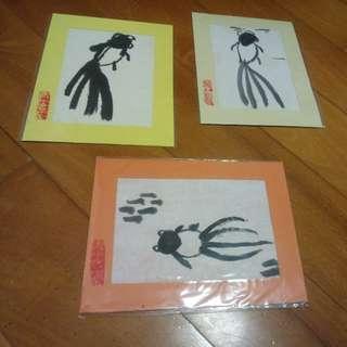 青年會堂水墨畫卡系列 - 魚