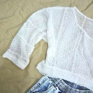 (Incl.pos) lace white top outerwear beach wear