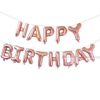 "x1 INSTOCKS 16"" Happy Birthday Balloon Bunting - Rose Gold"