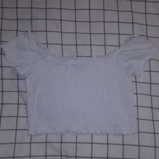 Size 16 White Shorted Off the Shoulder Crop Top