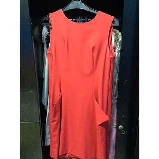 [Preloved] - Dress Import Merah Blkg Transparan