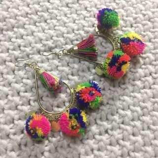 Tassel Pom Pom Earrings