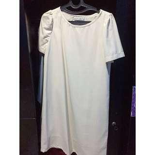 [Preloved] - Dress Import Aksen Brukat Warna Cream