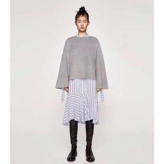 OshareGirl 12 歐美圓領寬鬆純色毛絨喇叭袖上衣