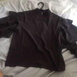 Boohoo Black ruffle blouse