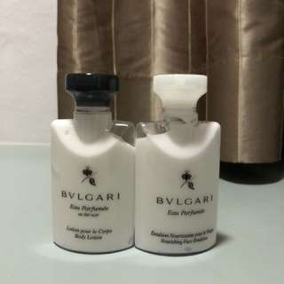 Bvlgari body lotion and face emulsion travel set