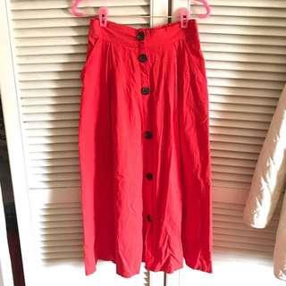 韓國 原價1080 打褶排釦長裙