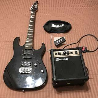 Ibanez GSA6JE-BKN starter pack with tuner and tremolo bar and IBZ1G amplifier