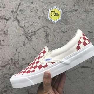 Vans vault slipon checkerboard red & white og lx