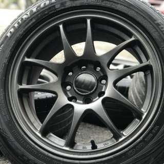 Work emotion 15 inch sports rim myvi ikon tyre 70%