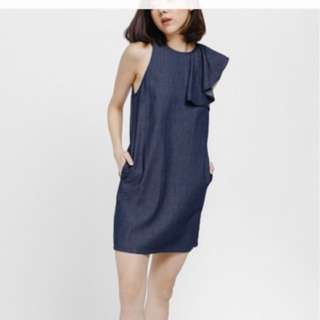 Love bonito Dhelby Ruffle Denim Dress