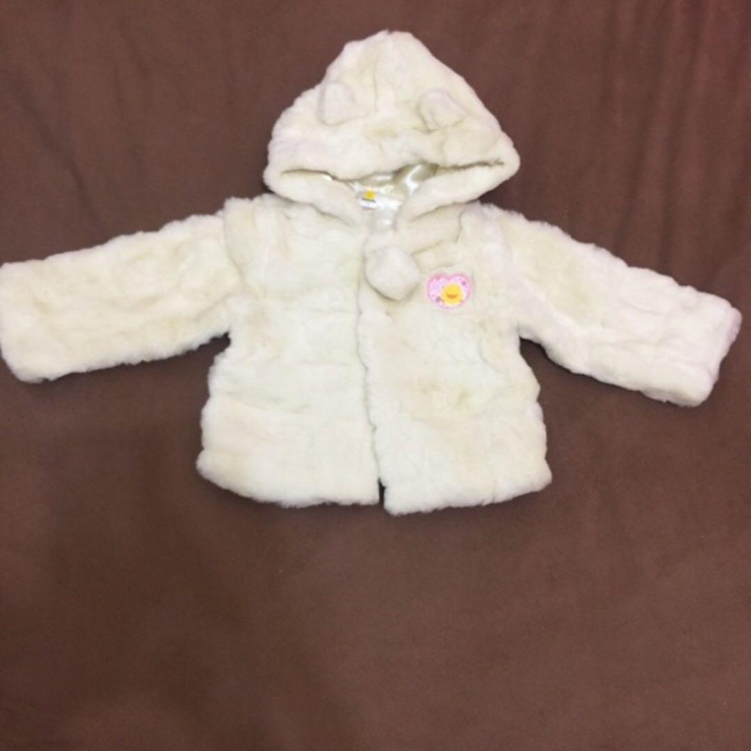 黃色小鴨超保暖白色絨毛外套2y
