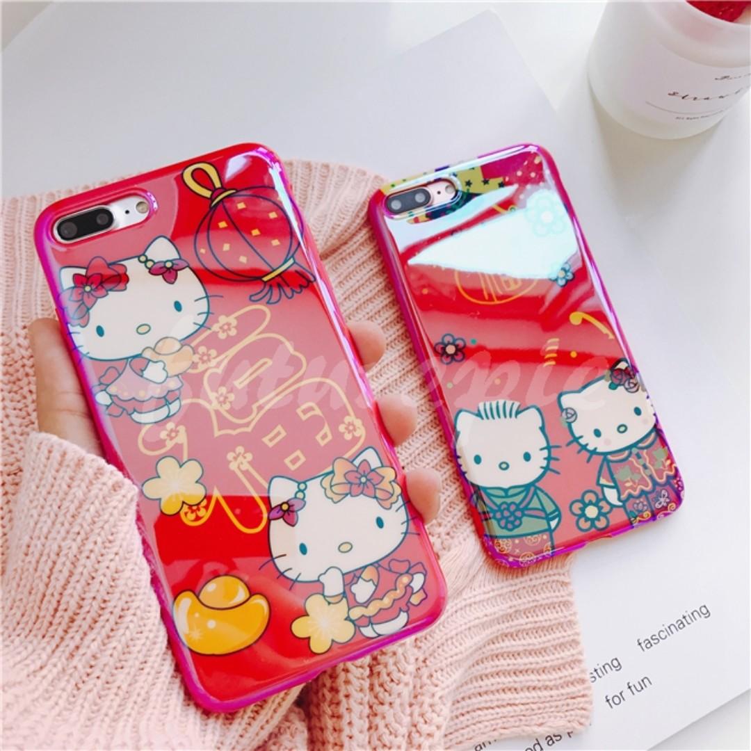 【預購】6+7+8+X/新年/大紅/藍光/kitty/全包/不掉色/手機殼/iphone/i6/i7/i8/iX