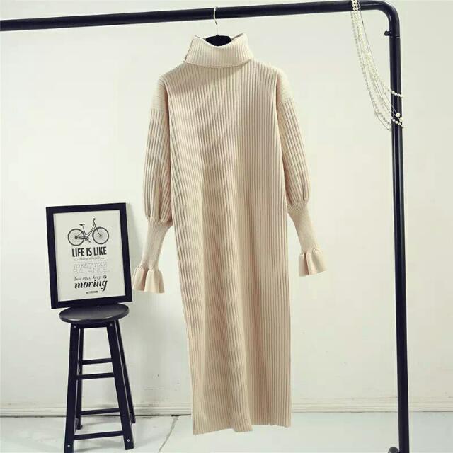 秋冬新款韓版長袖毛衣中長款修身百搭打底針織毛衣圍脖女