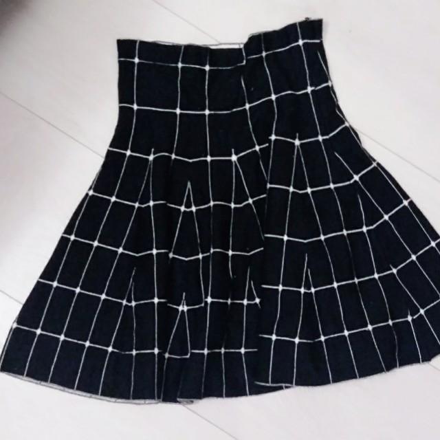 高腰學院風格子傘裙