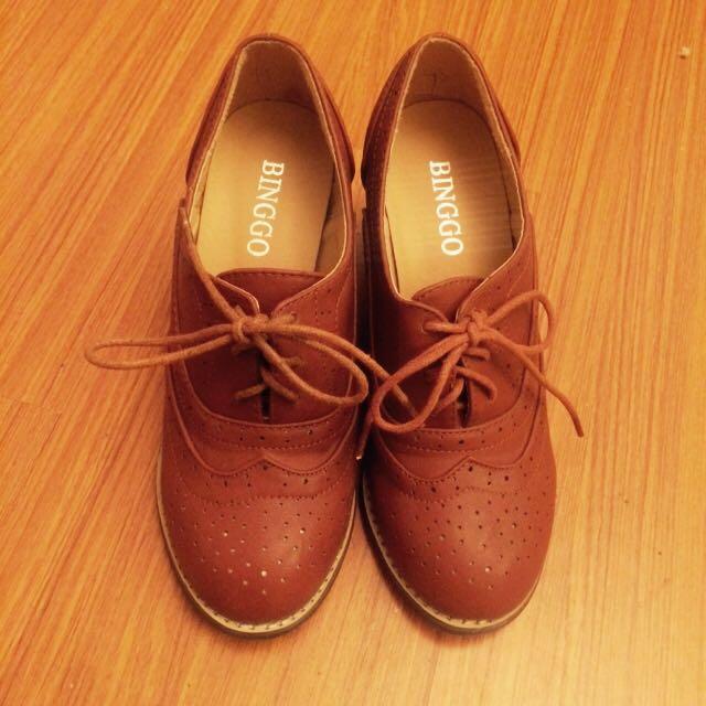 粗跟牛津鞋