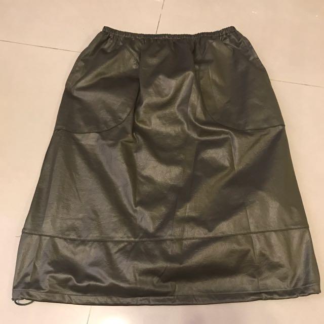 義大利品牌綠色鬆緊帶縮口裙