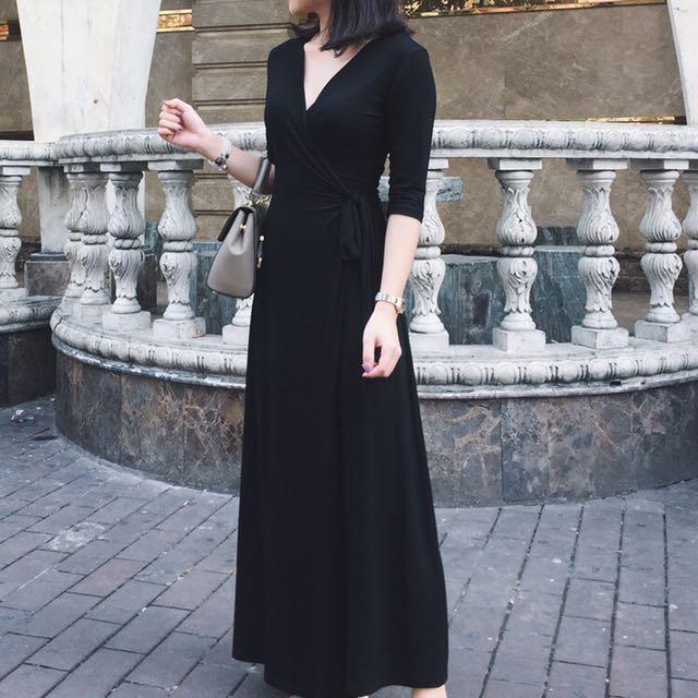 超百搭的綁帶性感長洋裝