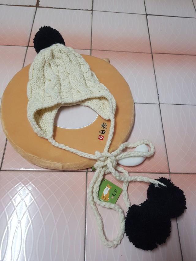 超可愛針織毛球毛線帽