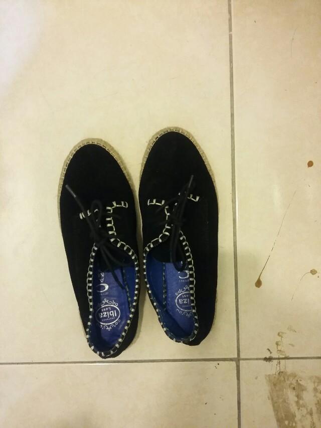 麂皮草編鞋