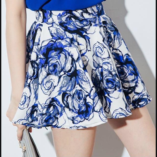 [免運]滿版印花 後拉鍊彈性腰圍褲裙 #我的女裝可超取 #有超取最好買