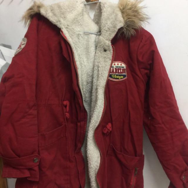 二手 紅色毛料厚外套 冬天必備 實品拍攝