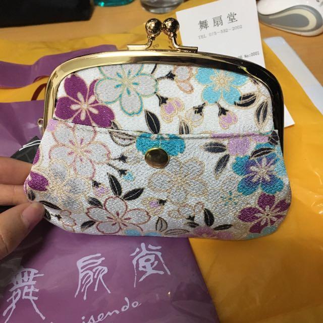 日本風 京都 子母包 全新 日本製 紫 櫻花