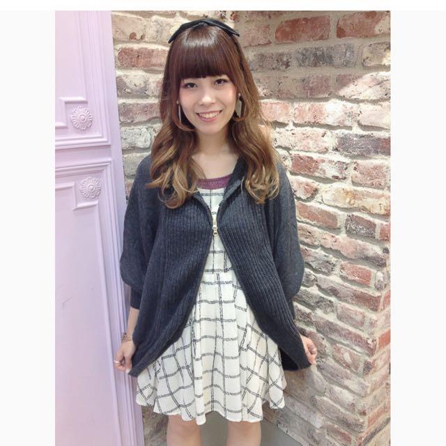 日本品牌 E hyphen EH 連帽拉鏈飛鼠袖針織外套 黑色 #好想找到對的人