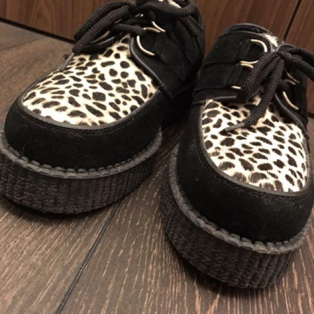 779bd2dbdd4 英國帶回真品Underground 英倫龐克限量馬毛豹紋拼接款麂皮厚底鞋UK5