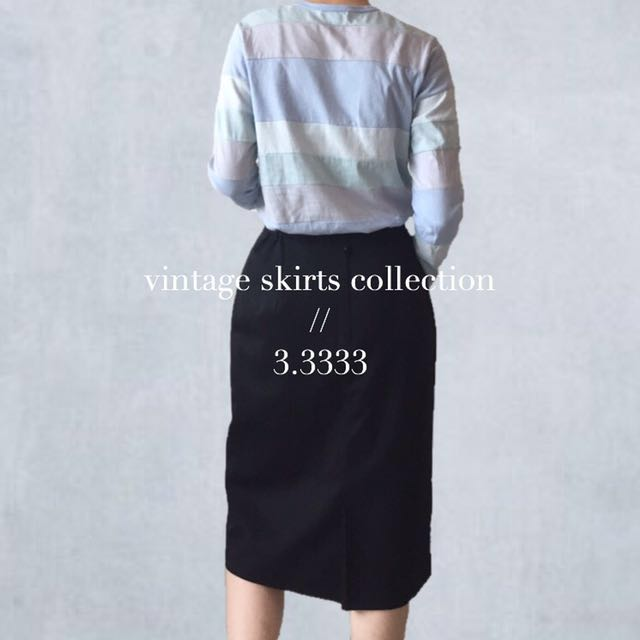 - vintage - 日本製🇯🇵古著/黑色立體蝴蝶結毛料裙