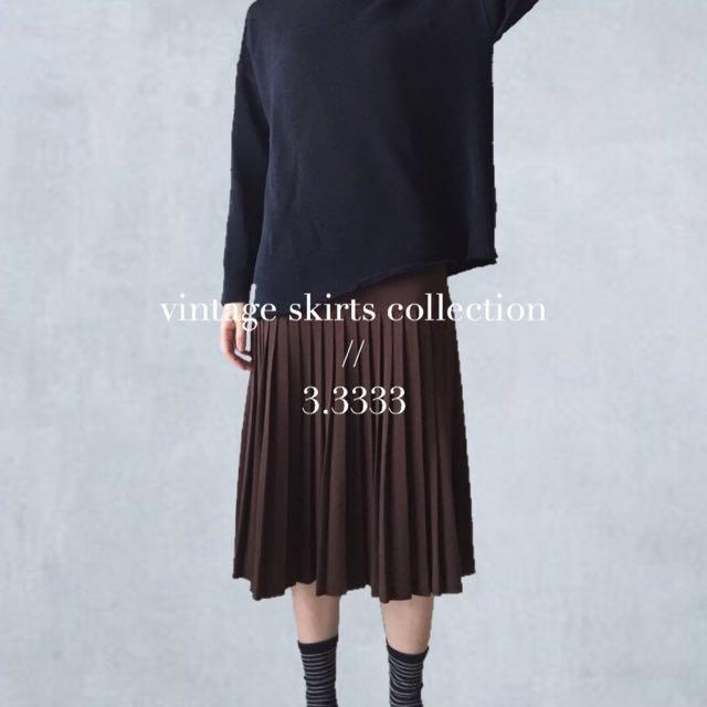 - vintage - 意大利製🇮🇹古著/咖啡色彈性毛料裙