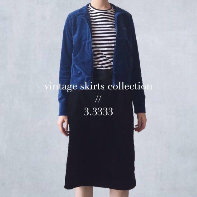 - vintage - 日本製🇯🇵古著/復古天鵝絨壓紋高腰裙