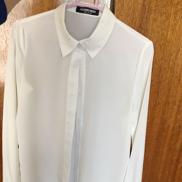 ASOS womens white button down blouse
